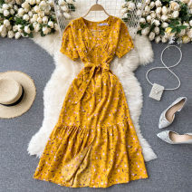 Dress Spring 2021 Black, blue, apricot, yellow, pink, red, dark brown, dark blue Average size Mid length dress singleton  Short sleeve commute V-neck High waist Decor Socket A-line skirt puff sleeve Others 18-24 years old Type A Korean version 31% (inclusive) - 50% (inclusive) other other
