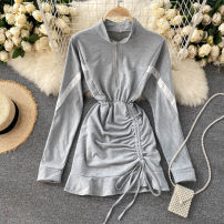Dress Autumn 2020 Black, white, gray, blue Average size Short skirt singleton  Long sleeves commute stand collar High waist Solid color zipper A-line skirt routine Others 18-24 years old Type A Korean version Pleats, zippers 31% (inclusive) - 50% (inclusive) other other