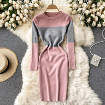 Dress Spring 2021 Black, pink, Burgundy Average size Short skirt singleton  Long sleeves commute Crew neck High waist Solid color Socket One pace skirt routine Others 18-24 years old Type X Korean version 31% (inclusive) - 50% (inclusive) other other