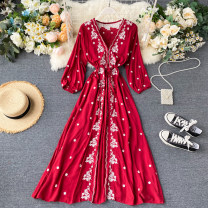 Dress Summer 2020 Yellow, white, black, red Average size longuette singleton  Long sleeves commute V-neck High waist Solid color Socket Big swing puff sleeve Others 18-24 years old Type A Korean version Embroidery, lace up, buttons 31% (inclusive) - 50% (inclusive) other other