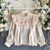 Lace / Chiffon Autumn 2020 Apricot, white, black, pink Average size Long sleeves commute Socket singleton  Self cultivation have cash less than that is registered in the accounts Solid color puff sleeve 18-24 years old Korean version 31% (inclusive) - 50% (inclusive)