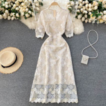 Dress Spring 2021 Apricot S,M,L,XL,2XL Mid length dress singleton  Short sleeve commute V-neck High waist Solid color Socket A-line skirt puff sleeve Others 18-24 years old Type A Korean version 31% (inclusive) - 50% (inclusive) other other