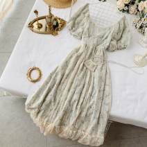 Dress Summer 2020 Apricot, apricot green S,M,L Mid length dress singleton  Short sleeve commute Crew neck High waist Decor Socket A-line skirt puff sleeve Others 18-24 years old Type A Korean version Ruffles, lace, prints 30% and below other other