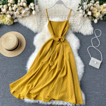 Dress Spring 2020 Average size Middle-skirt singleton  commute One word collar High waist stripe Socket A-line skirt camisole 18-24 years old Type A Korean version Frenulum 31% (inclusive) - 50% (inclusive) other other