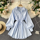 Dress Spring 2021 Black, white, blue M, L Short skirt singleton  Long sleeves commute Polo collar High waist Solid color Single breasted A-line skirt puff sleeve Others 18-24 years old Type A Korean version 31% (inclusive) - 50% (inclusive) other other