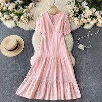 Dress Spring 2021 white , blue , yellow , Pink Average size Mid length dress singleton  Short sleeve commute V-neck High waist Solid color Socket A-line skirt routine Others 18-24 years old Type A Korean version 31% (inclusive) - 50% (inclusive) other other