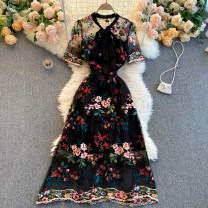 Dress Spring 2021 Black, apricot S,M,L,XL,2XL Middle-skirt singleton  Short sleeve commute Crew neck High waist Decor Socket A-line skirt routine Others 18-24 years old Type A Korean version 31% (inclusive) - 50% (inclusive) other other