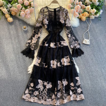 Dress Spring 2021 black S,M,L,XL,2XL Middle-skirt singleton  Long sleeves commute Crew neck High waist other Socket A-line skirt routine Others 18-24 years old Type A Korean version 31% (inclusive) - 50% (inclusive) other other