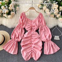Dress Spring 2021 Average size Short skirt singleton  Long sleeves commute V-neck High waist Solid color Socket A-line skirt puff sleeve Others 18-24 years old Type A Korean version 31% (inclusive) - 50% (inclusive) other other