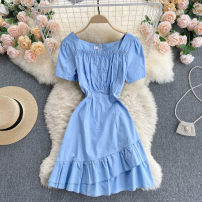 Dress Summer 2021 Black, white, blue M, L Short skirt singleton  Short sleeve commute square neck High waist Solid color Socket A-line skirt routine Others 18-24 years old Type A Korean version 31% (inclusive) - 50% (inclusive) other other