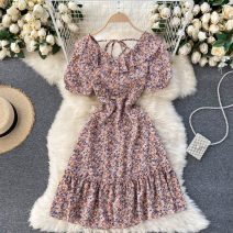 Dress Spring 2021 Average size Short skirt singleton  Short sleeve commute Crew neck High waist Decor Socket A-line skirt puff sleeve Others 18-24 years old Type A Korean version 31% (inclusive) - 50% (inclusive) other other