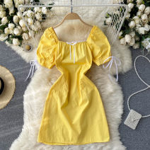 Dress Summer 2021 Black, white, yellow M, L Short skirt singleton  Short sleeve commute square neck High waist Solid color Socket A-line skirt puff sleeve Others 18-24 years old Type A Korean version 31% (inclusive) - 50% (inclusive) other other