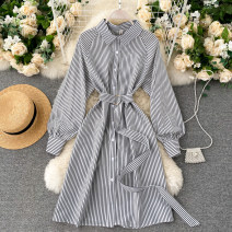 Dress Autumn 2020 black M,L,XL Short skirt singleton  Long sleeves commute Polo collar High waist stripe Socket A-line skirt puff sleeve Others 18-24 years old Type A Korean version Lace up, button 31% (inclusive) - 50% (inclusive) other other