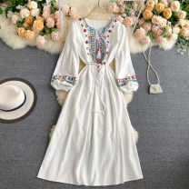 Dress Autumn 2020 Yellow, white, red, blue Average size Mid length dress singleton  Long sleeves commute Crew neck High waist Solid color Socket A-line skirt puff sleeve Others 18-24 years old Type A Korean version 31% (inclusive) - 50% (inclusive) other other