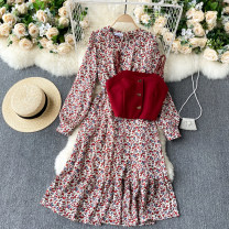 Dress Spring 2021 Apricot, red S,M,L Middle-skirt Two piece set Long sleeves commute Crew neck High waist Broken flowers Socket A-line skirt puff sleeve Others 18-24 years old Type A Korean version 31% (inclusive) - 50% (inclusive) other other