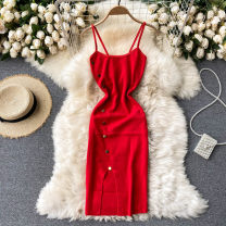 Dress Spring 2021 Black, red Average size Short skirt singleton  commute square neck High waist Solid color Socket A-line skirt camisole 18-24 years old Type A Korean version 31% (inclusive) - 50% (inclusive) other other
