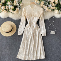 Dress Spring 2021 Apricot S,M,L Mid length dress singleton  Long sleeves commute Crew neck High waist Solid color Socket A-line skirt puff sleeve Others 18-24 years old Type A Korean version Ruffles, lace 31% (inclusive) - 50% (inclusive) other other