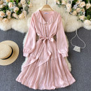Dress Spring 2021 Pink M,L,XL,2XL Middle-skirt singleton  Long sleeves commute V-neck High waist Solid color Socket Big swing puff sleeve Others 18-24 years old Type A Korean version 31% (inclusive) - 50% (inclusive) other other