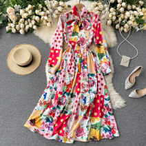 Dress Spring 2021 Pink S,M,L,XL,2XL longuette singleton  Long sleeves commute stand collar High waist Decor Socket A-line skirt routine Others 18-24 years old Type A Korean version 31% (inclusive) - 50% (inclusive) other other