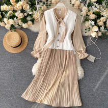 Dress Autumn 2020 Black, apricot, green, blue Average size Middle-skirt Two piece set Long sleeves commute Crew neck High waist Solid color Socket A-line skirt puff sleeve Others 18-24 years old Type A Korean version 31% (inclusive) - 50% (inclusive) other other
