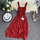 Dress Summer 2020 Pink, red, gray, white, apricot Average size Mid length dress singleton  Sleeveless commute Solid color camisole 18-24 years old 30% and below