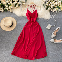 Dress Spring 2021 Black, red S,M,L Middle-skirt singleton  commute V-neck High waist Solid color Socket A-line skirt Hanging neck style 18-24 years old Type A Korean version 31% (inclusive) - 50% (inclusive) other other