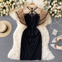 Dress Spring 2021 black S,M,L,XL,2XL Short skirt singleton  commute Crew neck High waist Solid color Socket A-line skirt routine Others 18-24 years old Type A Korean version Splicing 31% (inclusive) - 50% (inclusive) other other
