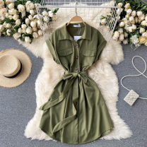 Dress Summer 2021 Average size Short skirt singleton  commute Polo collar High waist Solid color Single breasted A-line skirt Others 18-24 years old Type A Korean version Pocket, lace up, button 31% (inclusive) - 50% (inclusive) other other