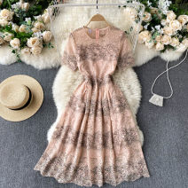 Dress Summer 2021 Blue, pink S,M,L,XL,2XL Middle-skirt singleton  Short sleeve commute Crew neck High waist Solid color Socket A-line skirt routine Others 18-24 years old Type A Korean version 31% (inclusive) - 50% (inclusive) other other