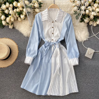 Dress Spring 2021 Black, red, yellow, blue, pink, watermelon red, caramel Average size Short skirt singleton  Long sleeves commute Polo collar High waist stripe Socket A-line skirt routine Others 18-24 years old Type A Korean version 31% (inclusive) - 50% (inclusive) other other