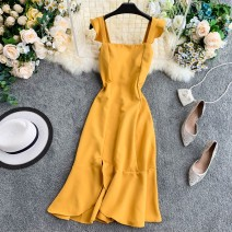 Dress Summer 2020 Average size Short skirt singleton  Sleeveless commute square neck High waist Solid color zipper A-line skirt other Others 18-24 years old Type A Korean version Lotus leaf edge 30% and below other other