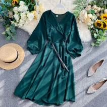 Dress Summer 2020 Average size Mid length dress singleton  Long sleeves commute V-neck High waist Solid color Socket A-line skirt puff sleeve Others 18-24 years old Type X Korean version 31% (inclusive) - 50% (inclusive) other other