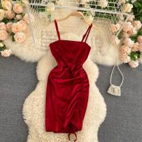 Dress Autumn 2020 Black, red, khaki Average size Short skirt singleton  commute square neck High waist Solid color Socket A-line skirt Others 18-24 years old Type A Korean version Pleating 31% (inclusive) - 50% (inclusive) other other