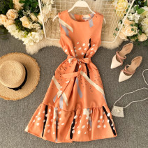 Dress Autumn of 2019 White, pink, light blue, dark blue, orange Average size Middle-skirt singleton  Sleeveless commute Crew neck High waist other Socket Ruffle Skirt routine Others 18-24 years old Type A Korean version Frenulum 31% (inclusive) - 50% (inclusive) other other