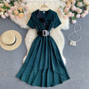 Dress Summer 2021 Black, red, green M,L,XL Mid length dress singleton  Short sleeve commute tailored collar High waist Solid color Socket Irregular skirt routine Others 18-24 years old Type A Korean version 31% (inclusive) - 50% (inclusive) other other