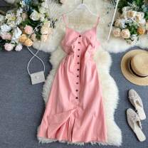 Dress Summer 2020 Black, pink S,M,L Middle-skirt singleton  commute V-neck High waist Solid color Single breasted A-line skirt camisole 18-24 years old Type A Korean version Button 31% (inclusive) - 50% (inclusive) other other