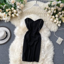 Dress Summer 2020 Black, white S,M,L Short skirt singleton  Sleeveless commute V-neck High waist Solid color zipper One pace skirt camisole 18-24 years old Type X Korean version Three dimensional decoration 31% (inclusive) - 50% (inclusive) other other