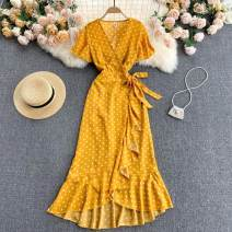 Dress Summer 2021 white , black , yellow , red , green Average size Mid length dress singleton  Short sleeve commute V-neck High waist Solid color other A-line skirt routine Others 18-24 years old Type A Korean version 31% (inclusive) - 50% (inclusive) other other