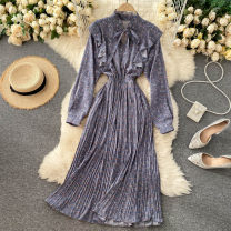 Dress Autumn 2020 Average size Middle-skirt singleton  Long sleeves commute stand collar High waist Broken flowers Socket A-line skirt puff sleeve Others 18-24 years old Type A Korean version 31% (inclusive) - 50% (inclusive) other other