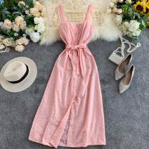 Dress Summer 2021 White, black, yellow, pink, red, blue Average size Mid length dress singleton  commute square neck High waist Solid color Socket A-line skirt camisole 18-24 years old Type A Korean version 31% (inclusive) - 50% (inclusive) other other