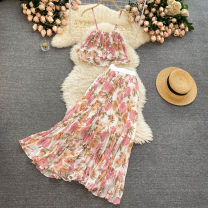 Fashion suit Summer 2021 Average size Yellow, white flower, black flower, grey flower, apricot flower, white flower and blue flower 18-25 years old 31% (inclusive) - 50% (inclusive)