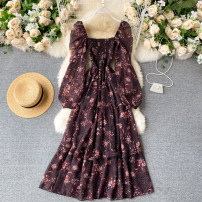 Dress Autumn 2020 black S,M,L Mid length dress singleton  Long sleeves commute square neck High waist Broken flowers Socket A-line skirt puff sleeve Others 18-24 years old Type A Korean version 31% (inclusive) - 50% (inclusive) other other
