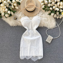 Dress Spring 2021 Black, white Average size Short skirt singleton  commute square neck High waist Solid color Socket A-line skirt Breast wrapping 18-24 years old Type A Korean version Lace 31% (inclusive) - 50% (inclusive) other other