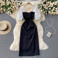Dress Summer 2021 black S,M,L Middle-skirt singleton  Short sleeve commute square neck High waist Solid color Socket A-line skirt puff sleeve camisole 18-24 years old Type A Korean version 31% (inclusive) - 50% (inclusive) other other