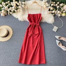 Dress Autumn 2020 gules S,M,L Middle-skirt singleton  commute High collar High waist Solid color Socket A-line skirt camisole 18-24 years old Type A Korean version 31% (inclusive) - 50% (inclusive) other other