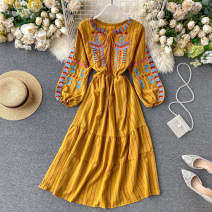Dress Summer 2020 White, red, yellow, blue Average size longuette singleton  Long sleeves commute Crew neck High waist stripe Socket Big swing puff sleeve Others 18-24 years old Type A Korean version Embroidery 31% (inclusive) - 50% (inclusive) other other