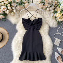Dress Summer 2020 black S,M,L Short skirt singleton  commute V-neck High waist Solid color Socket Ruffle Skirt camisole 18-24 years old Type X Korean version Open back, zipper 31% (inclusive) - 50% (inclusive) other other