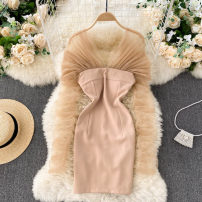 Dress Spring 2021 Black, Khaki S,M,L Short skirt singleton  Long sleeves commute other High waist Solid color zipper A-line skirt other Others 18-24 years old Type A Korean version Splicing 31% (inclusive) - 50% (inclusive) other other