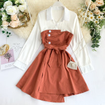 Dress Spring 2020 Pink, green, yellow, red, blue, black, orange Average size Short skirt singleton  Long sleeves commute Polo collar High waist Solid color Socket A-line skirt shirt sleeve Others 18-24 years old Type A Korean version Pleats, lacing, stitching, buttons other other