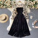 Dress Spring 2021 Black, apricot sleeves Average size Mid length dress singleton  Long sleeves commute Crew neck High waist Solid color Socket Big swing puff sleeve Others 18-24 years old Type A Korean version Splicing 31% (inclusive) - 50% (inclusive) other other